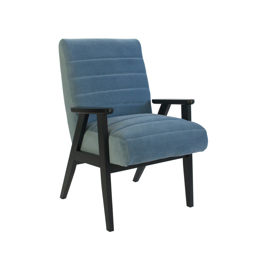 Brando Arm Chair Dusk Blue Velvet With Black Frame
