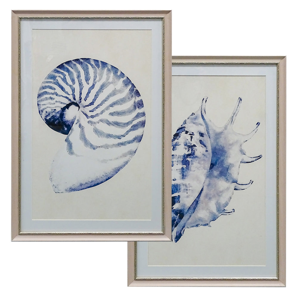 Blue Shells Wall Art Set/2
