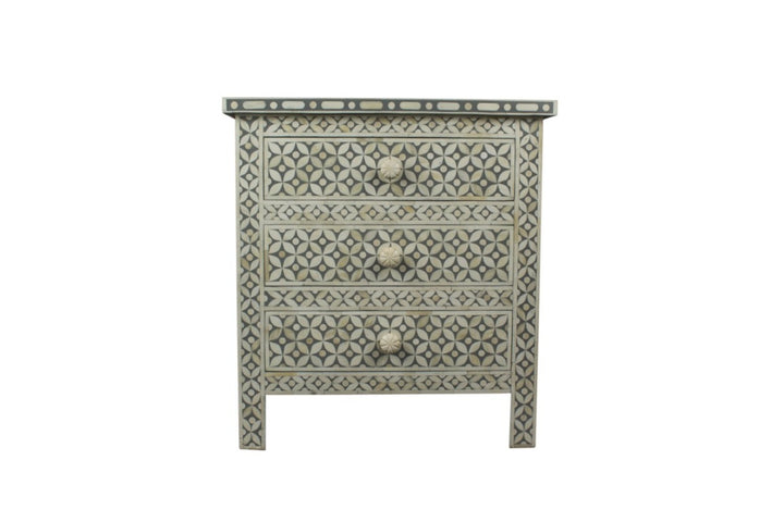Bone Inlay Geo 3 Drawer Bedside Chest