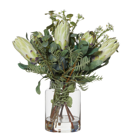 Protea Mix in Pail Vase Green