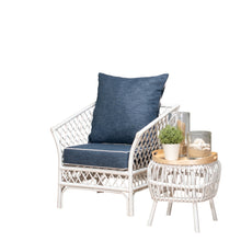 Borocay Armchair White with Navy Cushions
