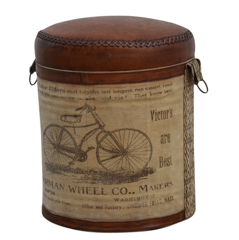 Aimee Bicycle Leather Ottoman