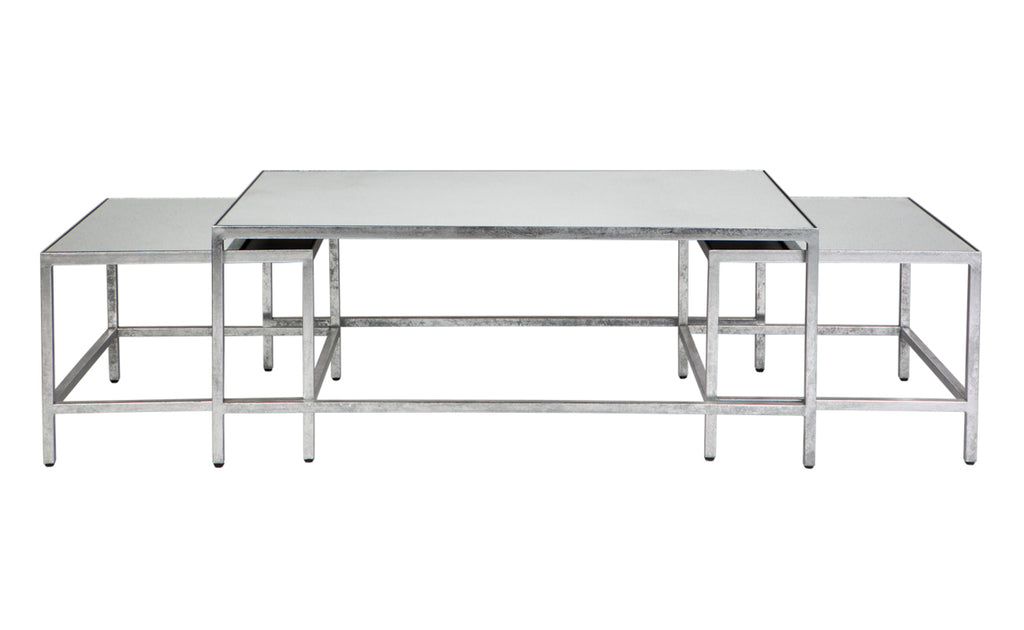 Cocktail Coffee Table Set/3 Antique Silver