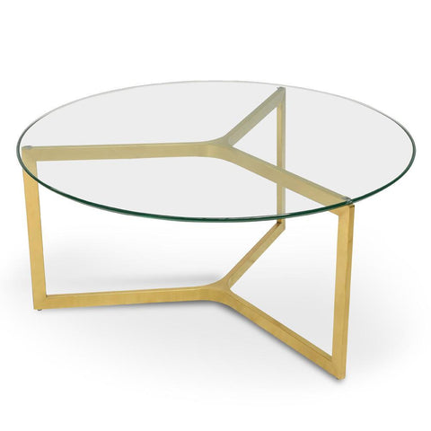 Evans Glass Side Tables Set/2 Brushed Gold