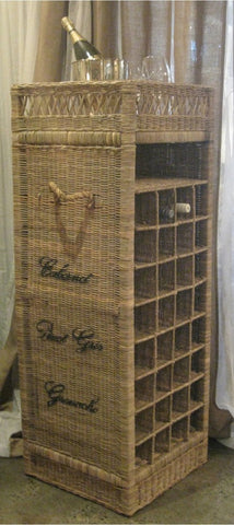Vintage Rattan Wine Rack 32 Bottles