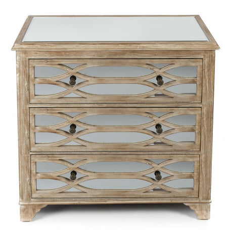 Lattice Mirrored 3 Drawer Chest