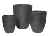 Deluxe Terazzolite Planter Set/3 Dark Grey