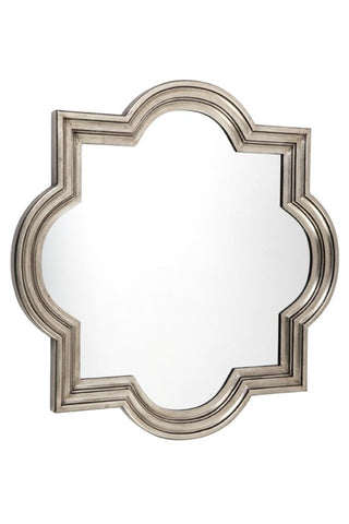 Fez Wall Mirror Antique Silver Large