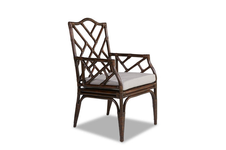Chinois Rattan Dining Chair Carver Coffee Bean