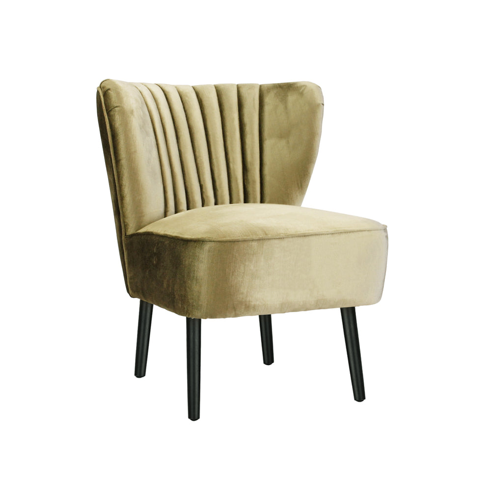 Slipper Chair Vintage Gold With Black Legs