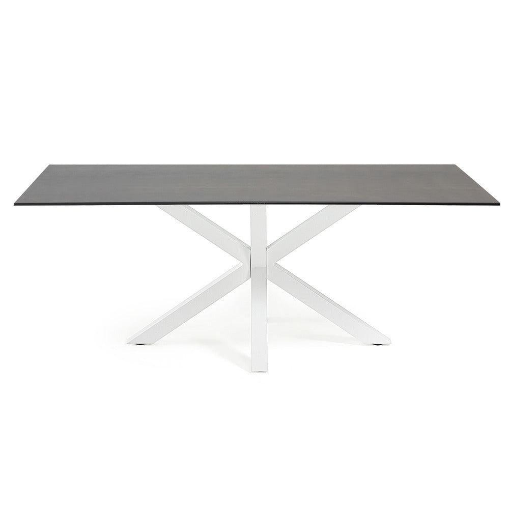 Masa Dining Table White Legs with Iron Moss Ceramic Top