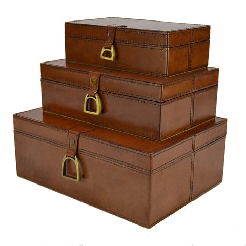 Carver Set/3 Leather Boxes with Stirrups Tan
