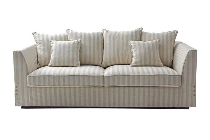 Natural Linen Stripe 3 Seat Sofa