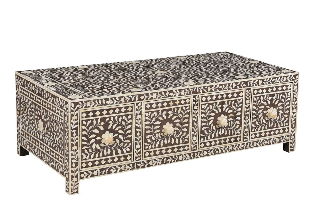 Nakul Florentine Bone Inlay Coffee Table Grey/Mushroom
