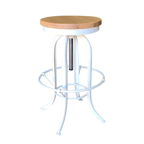 Screw Stool Antique White with Natural Oak Seat