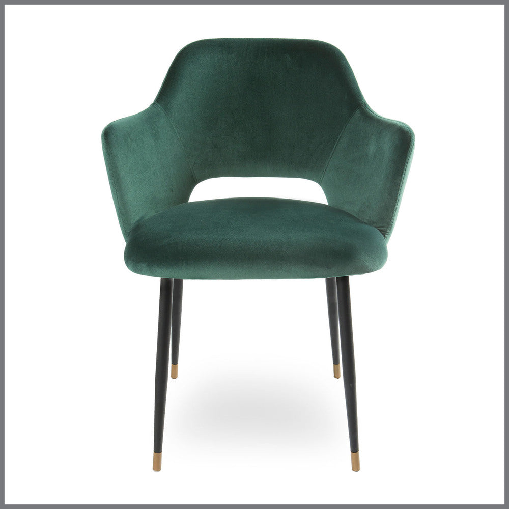Green Dining Room Chairs: Germain Carver Dining Chair Emerald Green Velvet