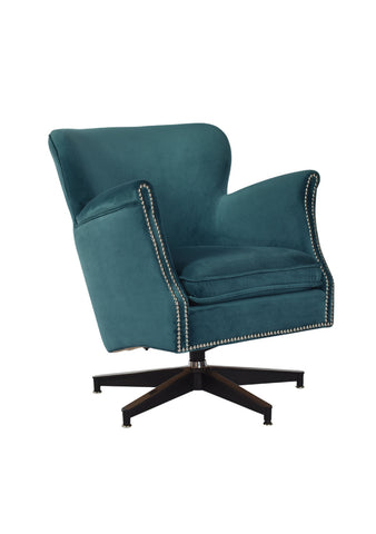 Swivel Armchair Aqua Velvet
