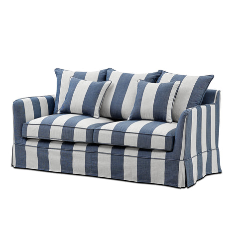 Cedros 2 Seat Sofa White Wash with Navy/Floral Cushions