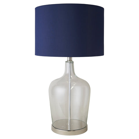 Palm Beach Glass & Nickel Lamp with Blue Shade