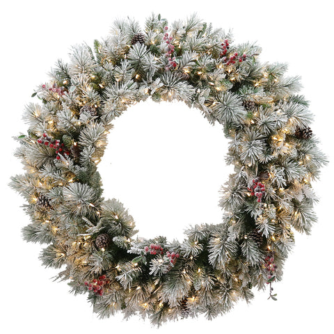 Glittery Bristle Wreath with LED 122cmDia