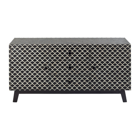Winter Bone Inlay 4 Door Sideboard Art Deco Black
