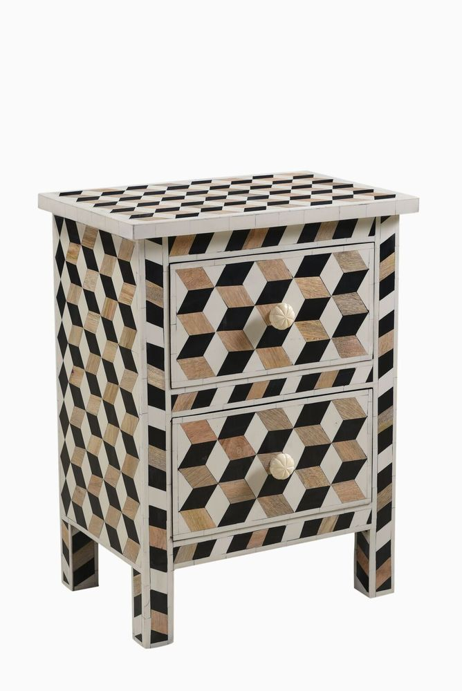 Escher Bone and Teak Inlay 2 Drawer Bedside