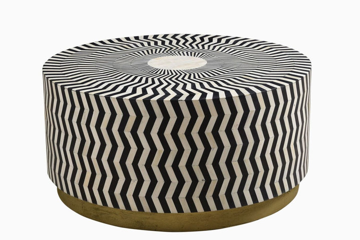 Ziggy Bone Inlay Coffee Table Black