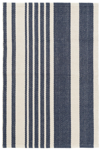 Herringbone Stripe Navy Cotton Rug