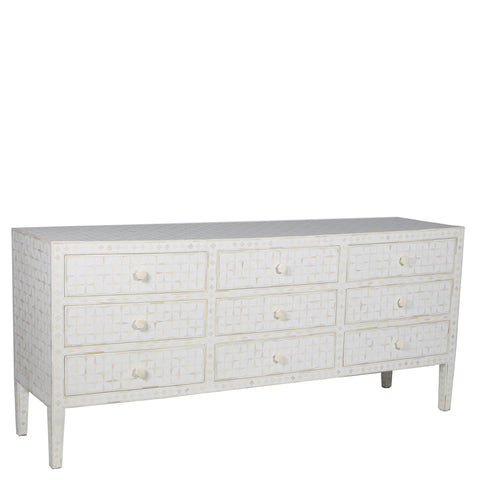 Petra Bone Inlay 9 Drawer Chest Starburst White