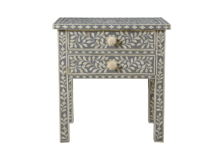 Rajesh Florentine Bone Inlay Bedside Grey