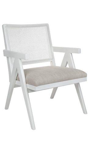 Cuba Dining Chair Black with White Linen Seat