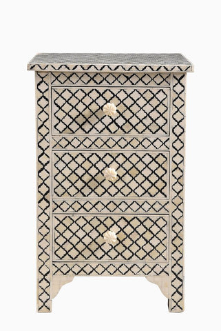 Arabesque Bone Inlay 3 Drawer Bedside Black