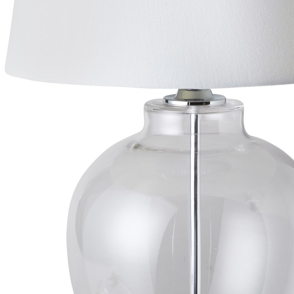Glass Urn Lamp with White Shade