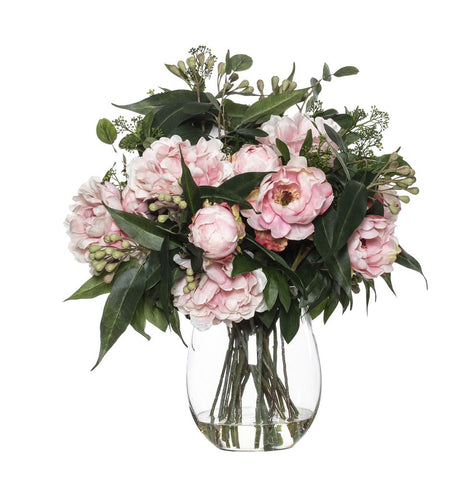 Peony Eucy Mix in Claire Vase Pink 66cmH