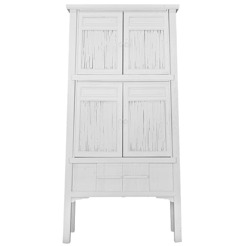 Bamboo Tall Cabinet White