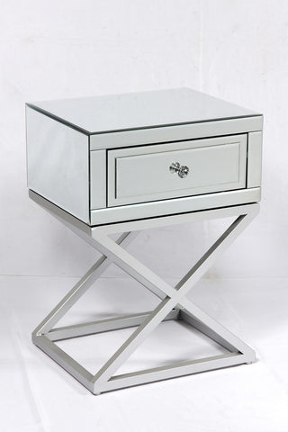 Dorset Single Drawer Mirrored Side Table