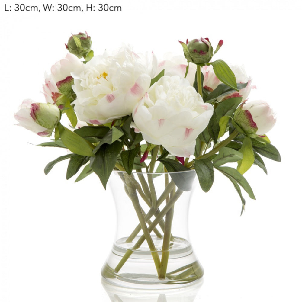Loletta Peony In Glass Vase White