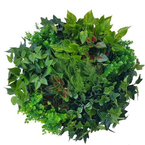 Artificial Indoor Green Wall Disc Art Mixed Fern & Ivy 60cm