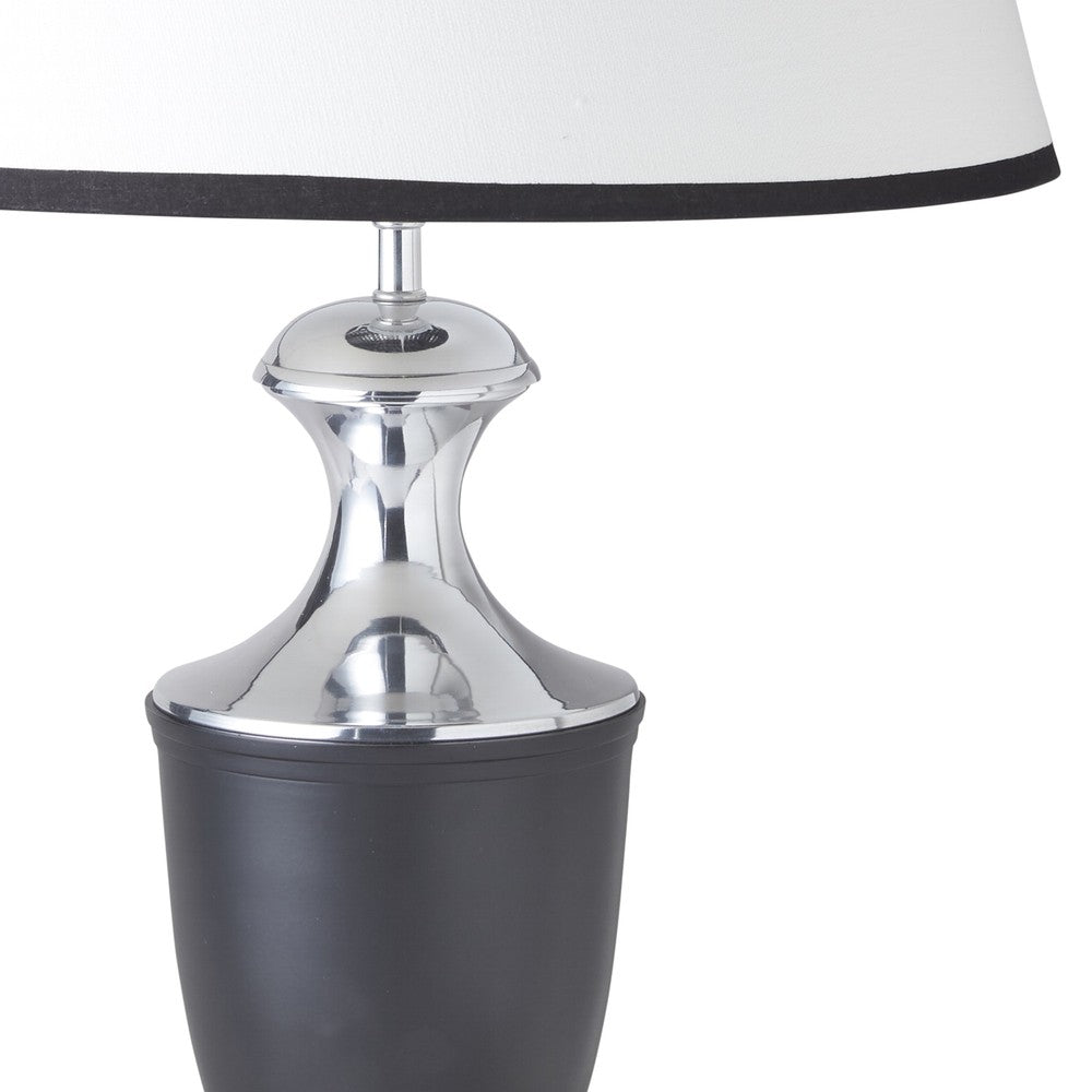 Black and Nickel Urn Lamp with Piped Shade Pair