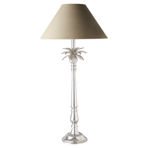 Nickel Pineapple Leaf Lamp with Black Shade Pair
