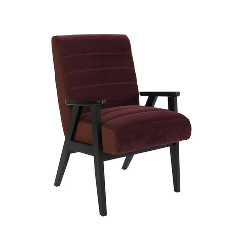 Brando Arm Chair Plum Velvet with Black Frame