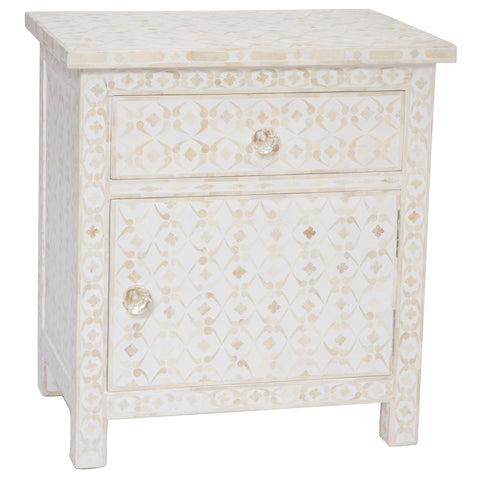Celeste Bone Inlay 1 Drawer Side Cabinet Geometric White