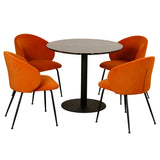 Cecilia Velvet Dining Chair Rust Set/2