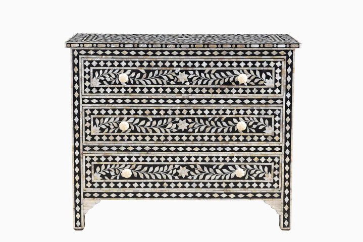 Janiki Mother of Pearl Inlay 3 Drawer Chest
