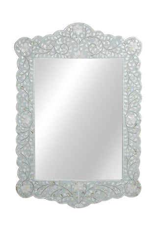 Ophelia Mother Of Pearl Scalloped Mirror Floral Sea Foam