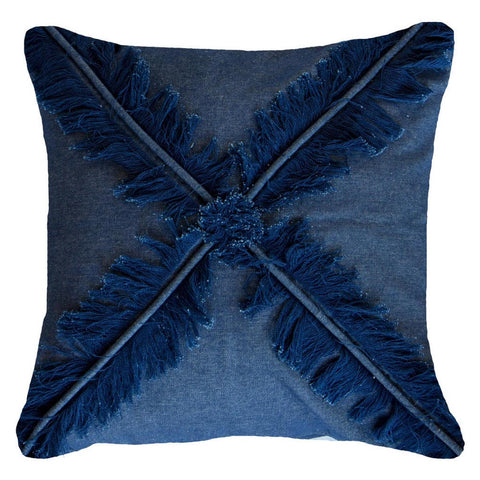 Cross Fringe Navy Lounge Cushion
