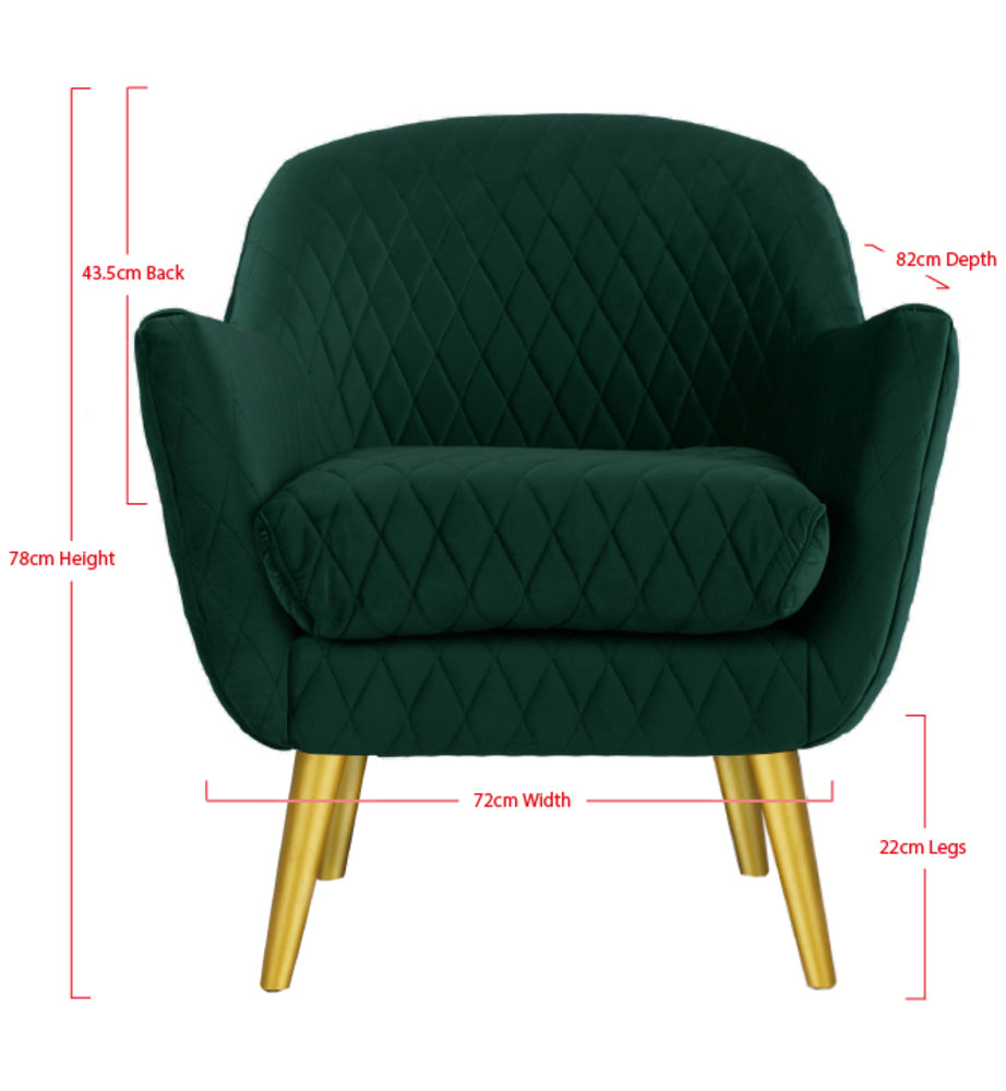 Club Chair Ivy Green with Gold Legs