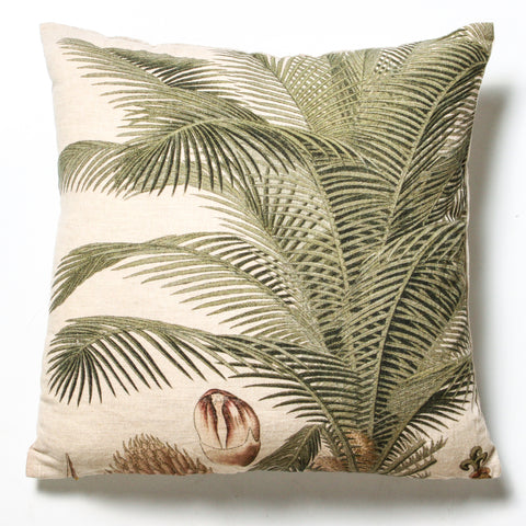 Tropical Palm Linen Cushion