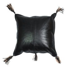 Arvika Leather Tassel Cushion Black