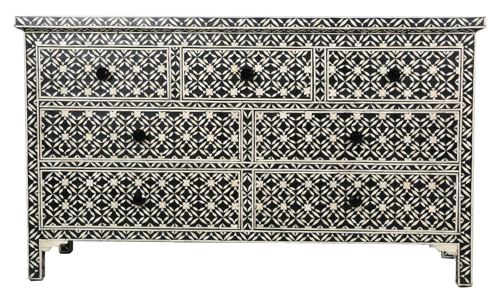 Libby Bone Inlay 7 Drawer Chest Geometric Flower Black